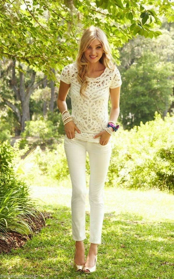 Lilly Pulitzer WORTH SKINNY Pants Jeans Cameo White Cream 2 4