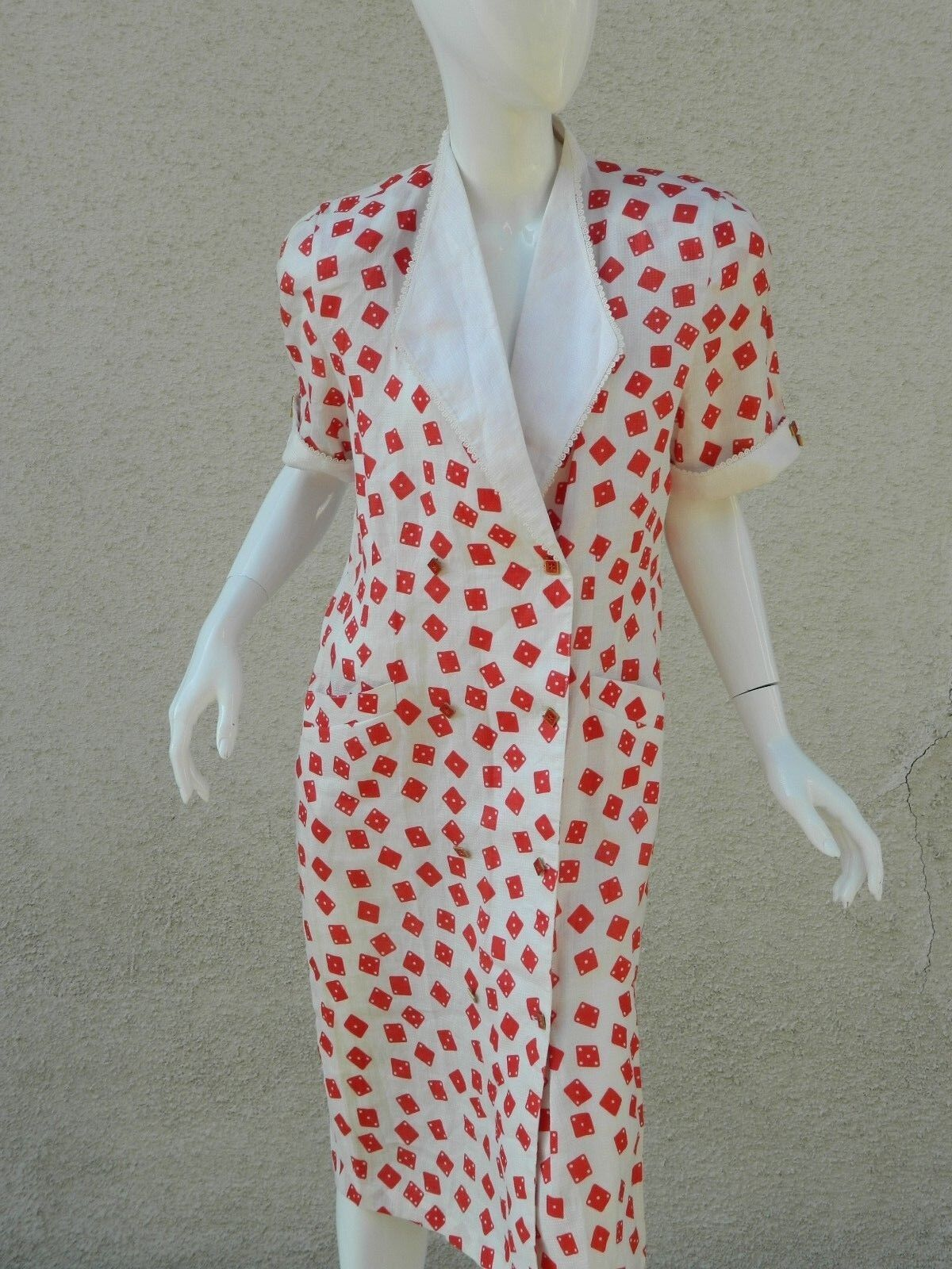 Vintage Catch Fire Dress Domino's Print rot and Weiß 1980s Sz M L