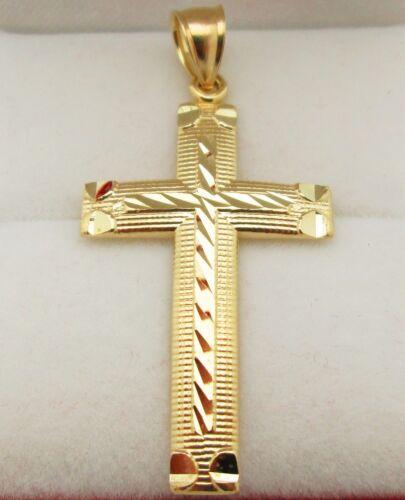 Hommes 10k Or Jaune Pendentif Croix Diamant Coupe Or Crucifix Charm