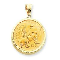 14k Yellow Gold 1 oz Mounting Panda Coin Diamond Cut Scalloped Bezel Pendant