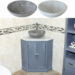 Grey Bathroom Vanity Unit Free Standing Corner Cabinet White Marble Basin Ebay
