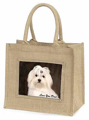 Malteser Hund 'Liebe dich Papa' Große Natürliche Jute-einkaufstasche Weihnachten