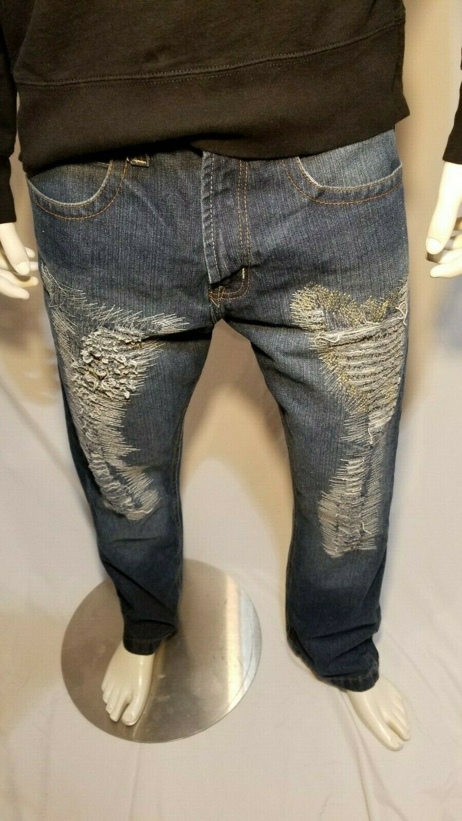 Indigo Thirty Jeans Faded Dark Wash Straight Leg 32x30 Men's