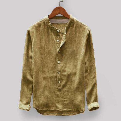 Herren Vintage Locker Freizeit Baumwolle Mischungen Hemd Stehkragen Langärmelig