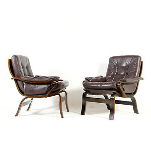 1-of-2-Retro-Vintage-Danish-Leather-Lounge-Armchair-Chair-60s-70s-Rosewood