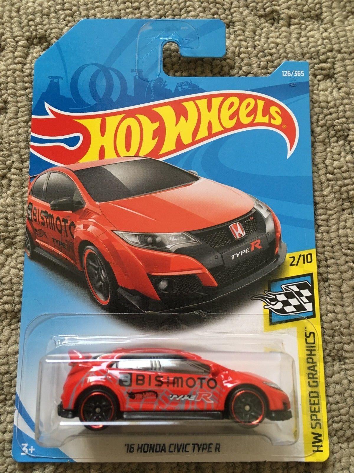 Hot Wheels 16 Honda Civic Type R HW Speed Graphics 2//10 1:64 126//365 2017 mattel