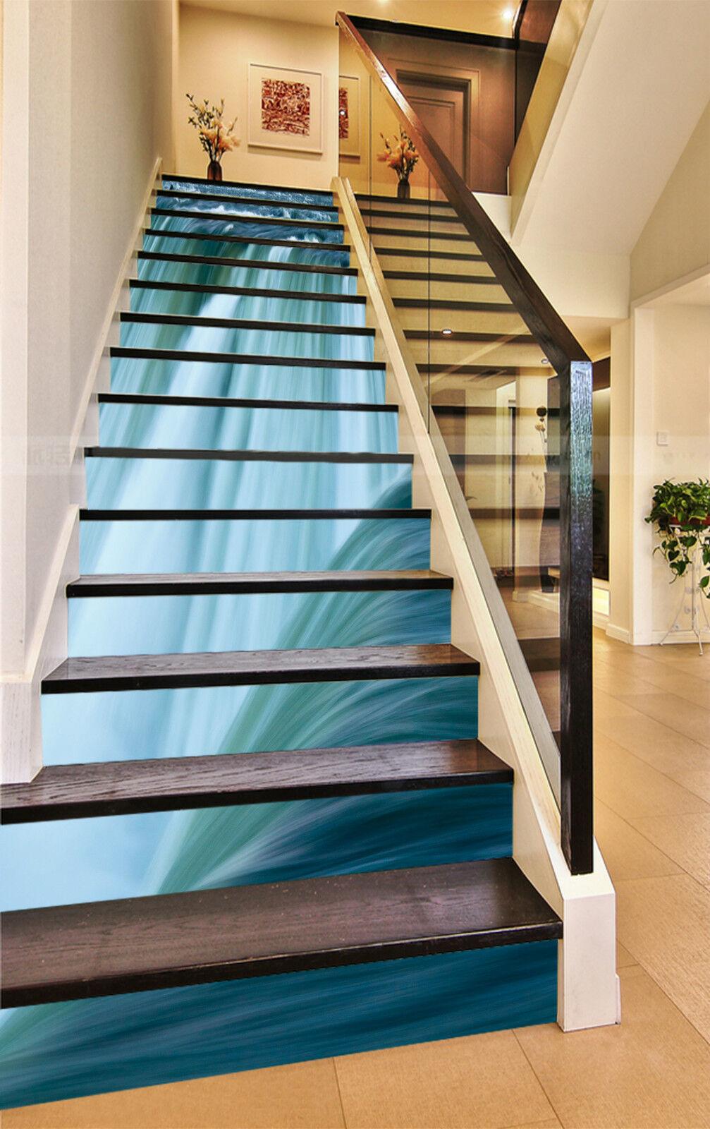 3D Enorm Wasserfall Stair Risers Dekoration Fototapete Vinyl Aufkleber Tapete DE