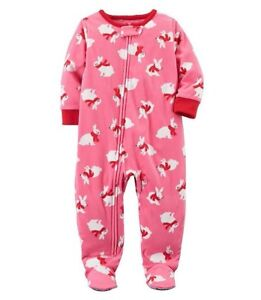 Carter-039-s-Baby-Girls-039-One-Piece-Bunnies-Fleece-Footed-Pajamas-24-Months-NWT