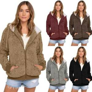 Women Hoodie Faux Fur Fluffy Coat Teddy Bear Hooded Jacket Winter Zip Up Outwear