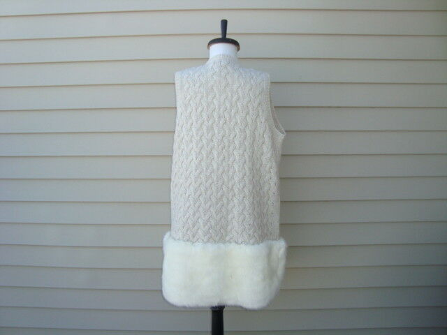 NWT FRENCH CONNECTION Trendy Faux Fur Trim Skirt Skirt Skirt Fashion Long Vest Sz M edcfbb