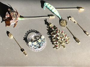 Vintage-Pin-Brooch-Lot-7-Brooches-Antique-Jewelry-Pins