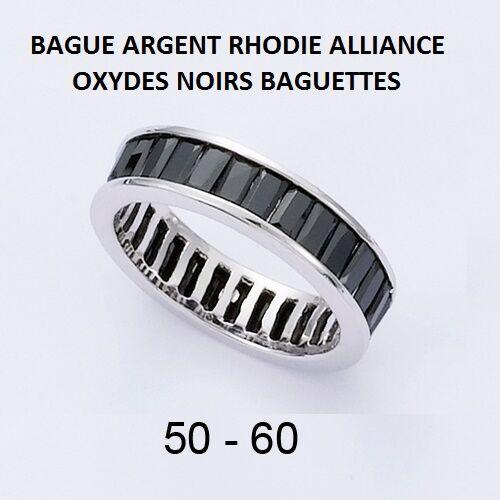 BAGUE RHODIE ALLIANCE OXYDES blackS BAGUETTES  en silver Massif 925
