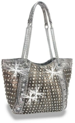 Pewter Rhinestone And Stud Accented Metallic Handbag