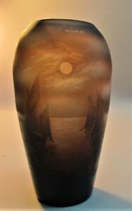 "1910 Antique Discounts Price Antiques French Fine D'argental French Cameo Glass Vase ""sailboats At Night"" C"
