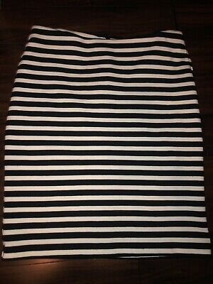 Women's Clothing Size 2 By Scientific Process Rapture Merona Women's Black/white Striped Knit Stretch Pencil Skirt W/pockets Clothing, Shoes & Accessories