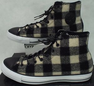 682e145a66fc New Mens 11.5 Converse Woolrich CTAS Hi White Black Plaid  80 ...