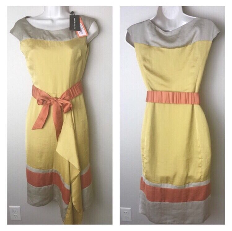 NWT   Karen Millen Houston Farbeful Gelb Orange Drape Dress US Sz 2
