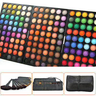 32Pcs Make up Brushes + 180 Colour Eyeshadow Palette Shimmer Cosmetic Set New OZ