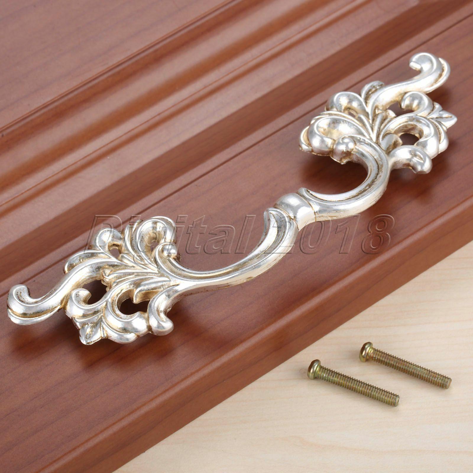 1Pc European Style Vintage Dresser Cupboard Closet Drawer Handle Pulls Cabinet Door Knob Furniture Hardware Antique Silver