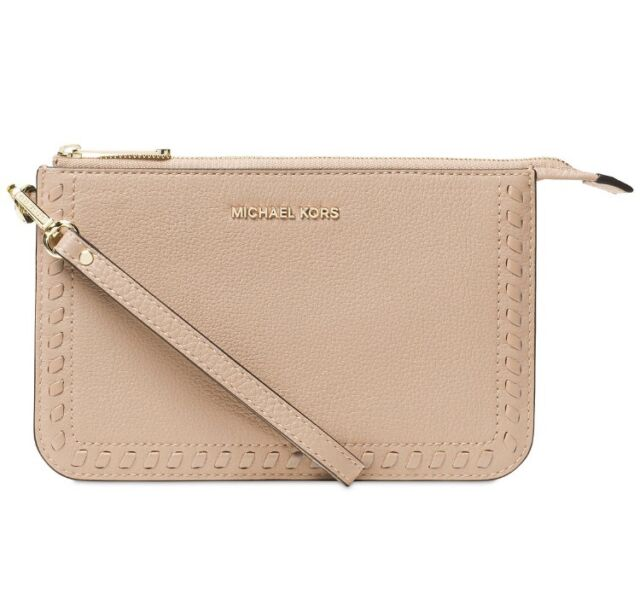 c49cbd9a5a4f65 NWT Michael Kors Lauryn Medium Wristlet Leather OYSTER  whipstitching~MSRP$118
