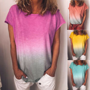 Womens-Summer-Short-Sleeve-Gradient-Plus-Size-Casual-Beach-T-Shirt-Tops-Blouse