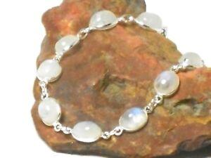 Oval-MOONSTONE-Sterling-Silver-925-Gemstone-Bracelet-19-21-cm
