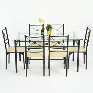 ensemble table a manger 6 chaises verre transparent