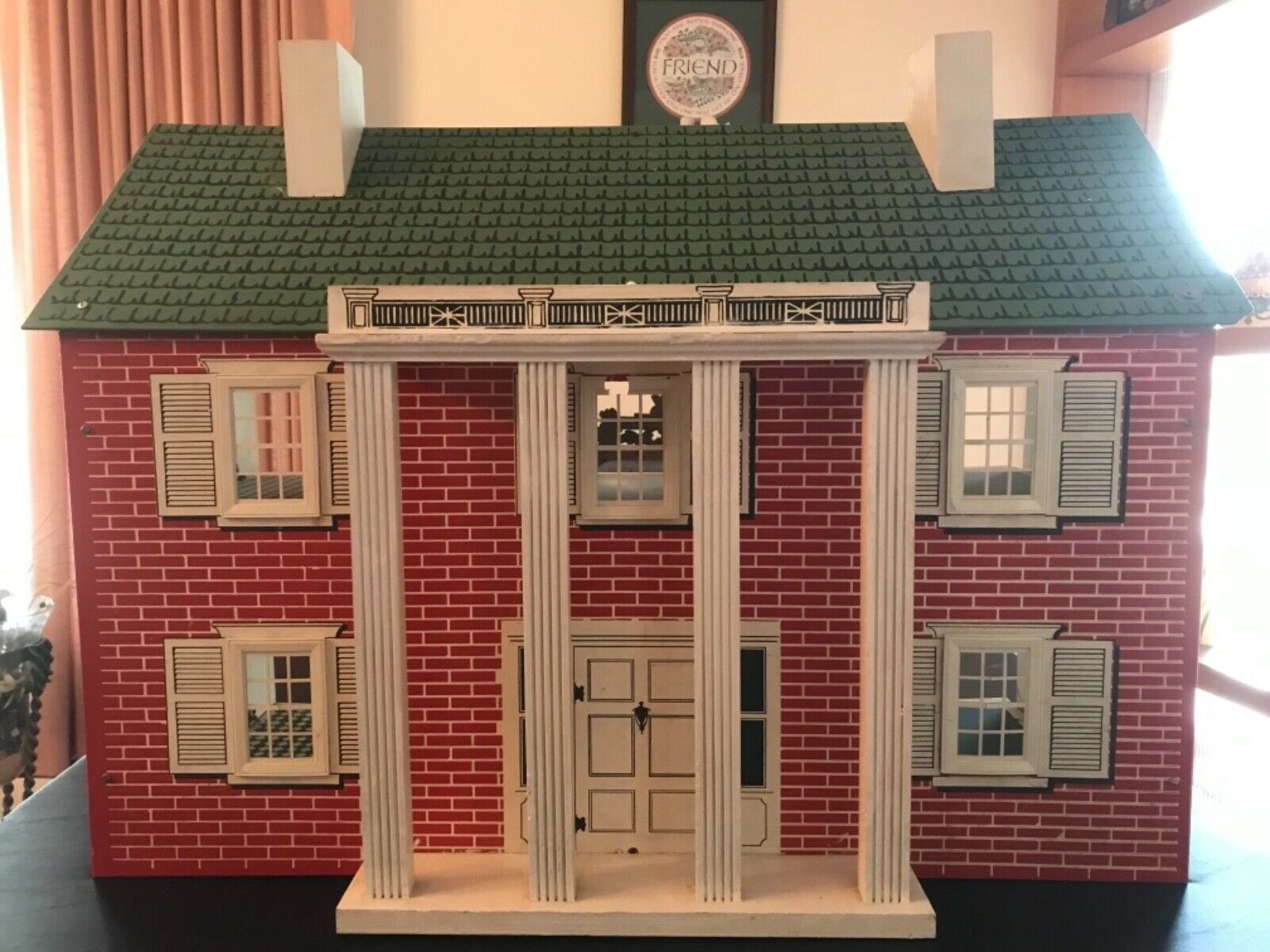 Vintage Doll House w furniture, Masonite pressed wood construction, wood columns