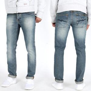 Nudie-Herren-Used-Look-Slim-Fit-Stretch-Jeans-Hose-Grim-Tim-Shady-Indigo