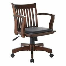Wood Swivel Bankers Desk Chair Black Vinyl Padded Seat Home Office Use Espresso