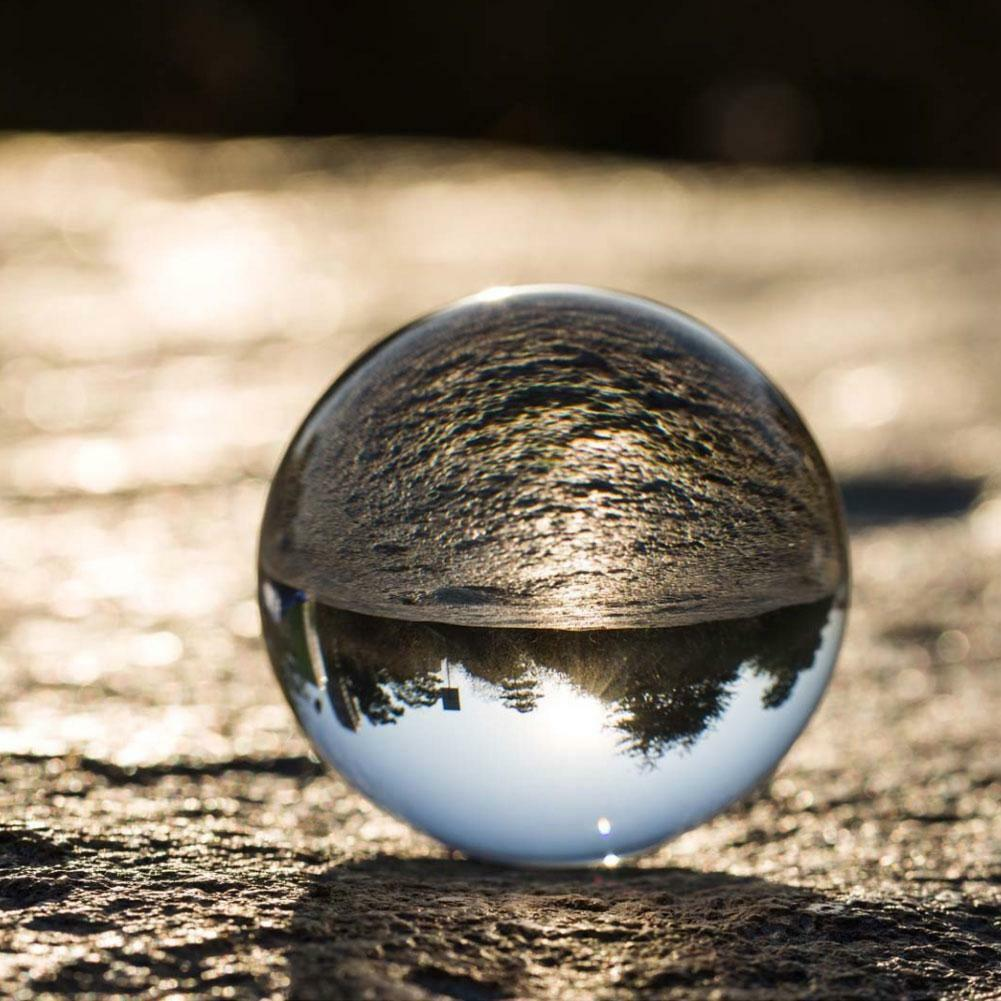 Clear Glass Crystal Ball Healing Sphere Photography Props Lensball Decor Gift 11