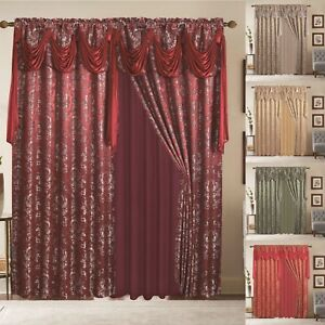 Window-Curtains-2-Panel-Set-Luxury-Red-Burgundy-With-Valance-and-Sheer