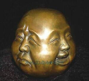 Collectables-Ancienne-laiton-sculpture-Bouddha-4-face-Bouddha-statue
