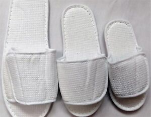b0470111235 WHOLESALE HOOK LOOP WAFFLE OPEN TOE WHITE HOTEL SPA SLIPPERS 3 SIZES ...