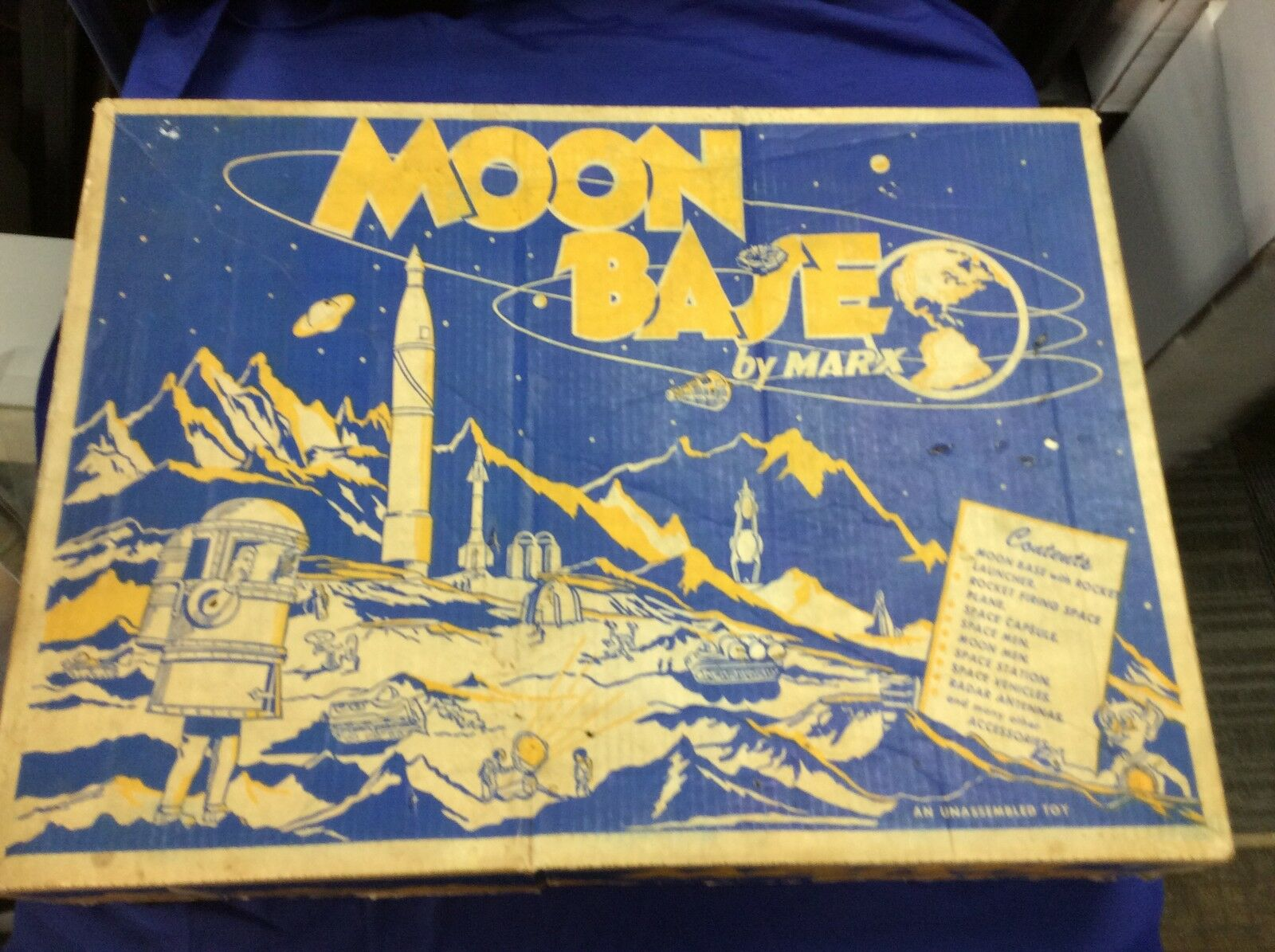Original 1958  Marx Toys  MOON BASE  Playset box w BASE HTF space sci-fi