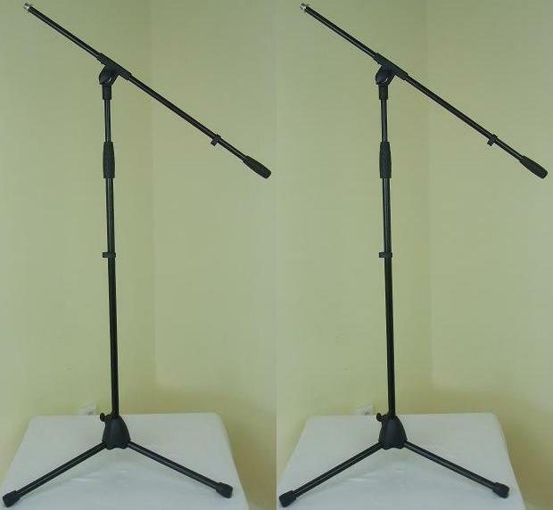 2 x Adam Hall Microphone Stand Eco Black Microphone Stand Mic Stand with gallows