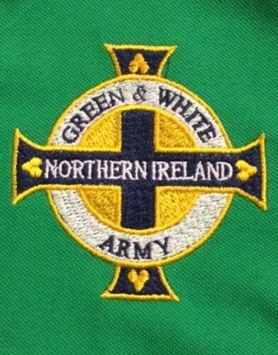 """Nouvelle Irlande du Nord /""""Vert /& Blanc Armée/"""" Brodé Polo Shirt"""