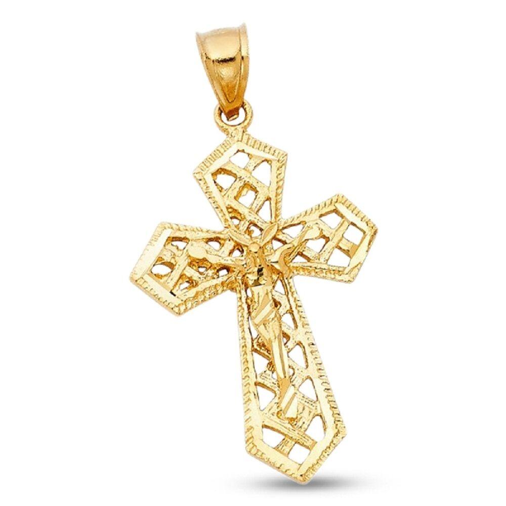 Solid Crucifix Pendant 14k Yellow gold Jesus Cross Charm Diamond Cut Polished