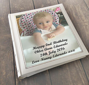 personalised large luxury guest book photo album 2nd birthday