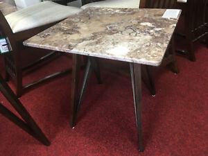 Alfrank Geo Brown Cream Marble Lamp Side End Table High St Price