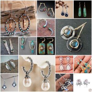 Vintage-925-Silver-Turquoise-Dangle-Ear-Hook-Drop-Gift-Women-Jewelry-Earrings