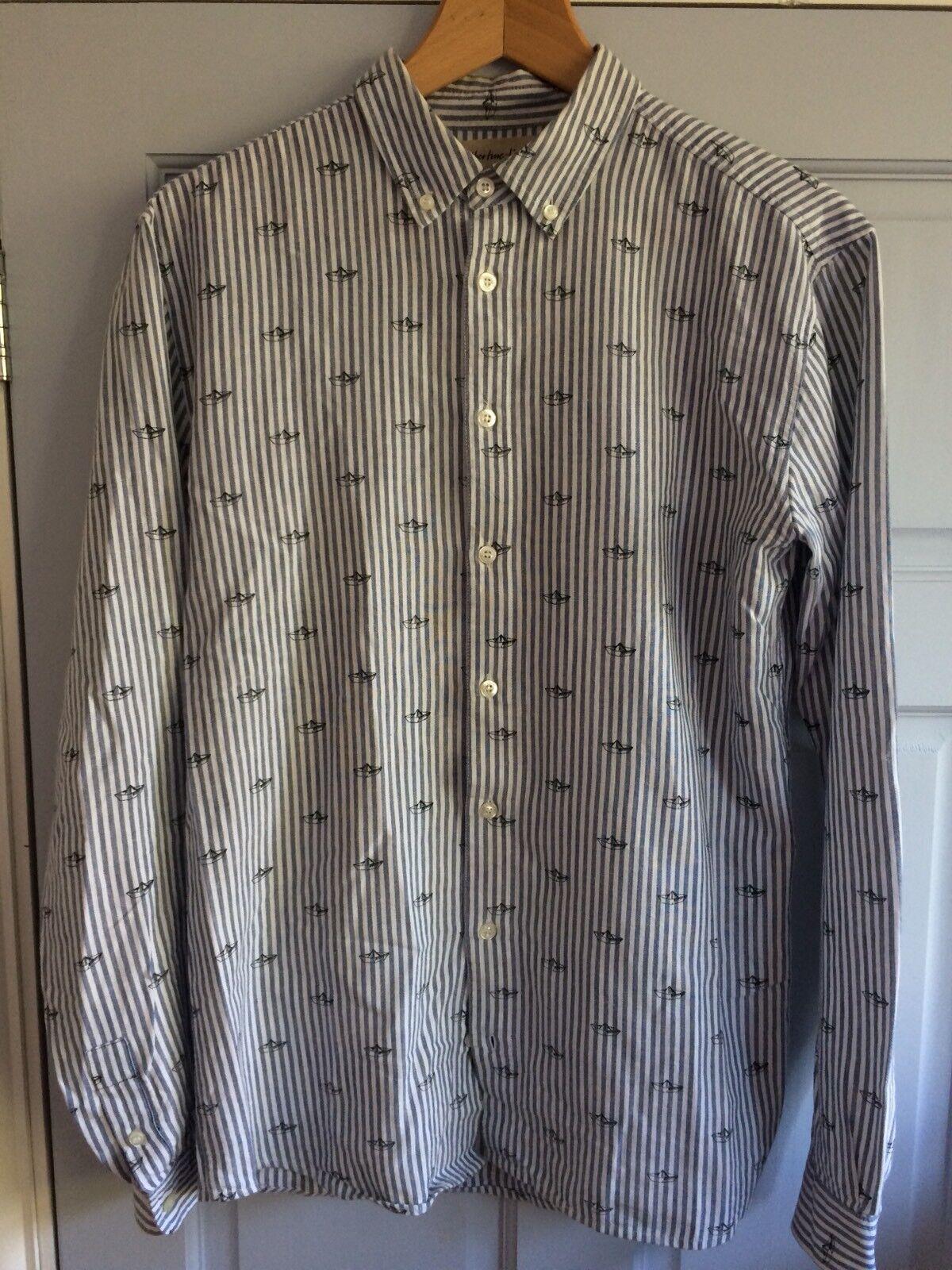 Libertine Libertine Boat Printed Striped Button Down Oxford Shirt