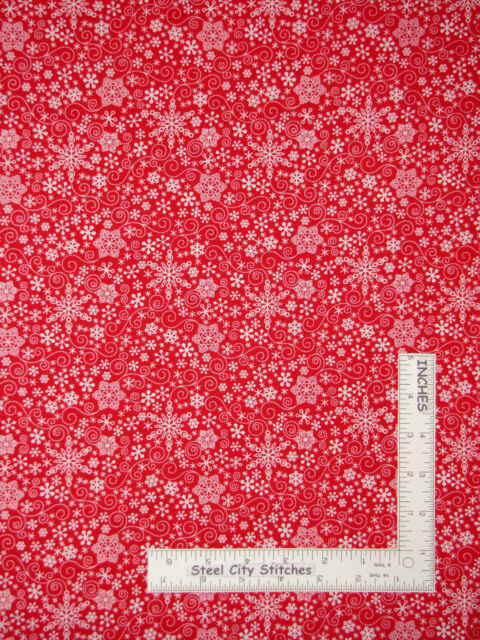 Christmas White Snowflakes Red Cotton Fabric Benartex Mulberry Lane By The Yard