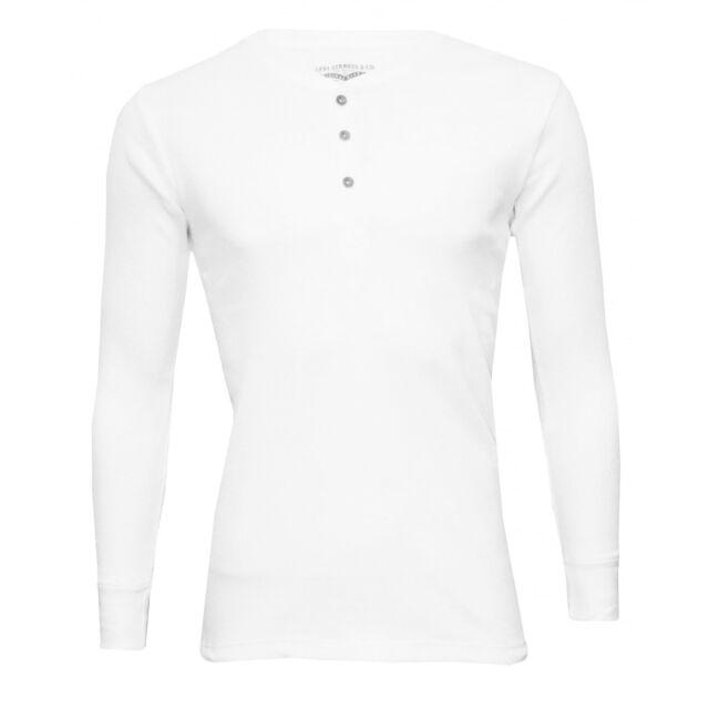 Levi's 300 Levi Strauss Ribbed Cotton Long-Sleeve Men's Henley T-Shirt, White