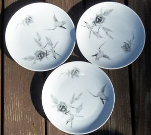 SET-OF-3-ROSENTHAL-CONTINENTAL-JET-ROSE-Bread-Butter-Plates-RAYMOND-LOEWY
