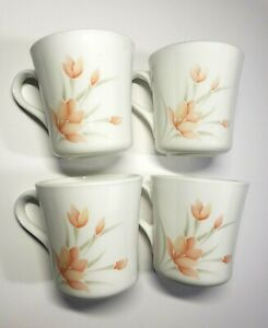 Corelle-Peach-Floral-Coffee-Tea-Cups-Mugs-by-Corning-Set-of-4