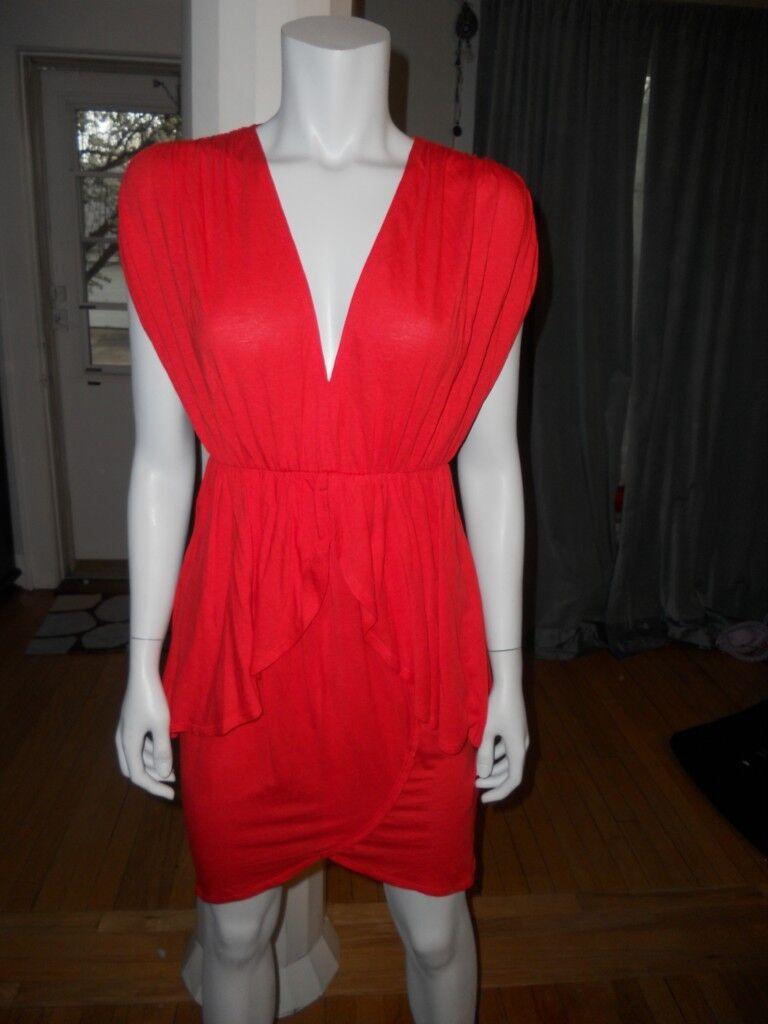 Alice + Olivia Jersey Blouson Dress with Layerot Skirt Poppy rot XS 0-2 US