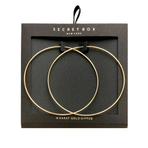 Fein Groß Hochwertig Kreolen Creole Ohrringe 14 Karat Gold getaucht 8 cm Durch