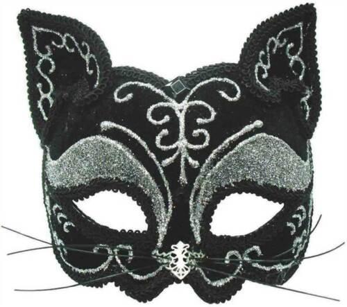 BLACK GLITTER CAT MASK MASQUERADE EYE MASK FANCY DRESS