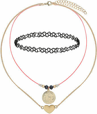 DCK Love Themed Necklace & Tattoo Choker 3-Pack NEW